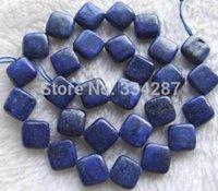 perlas de lapis de 12mm al por mayor-Envío gratis natural hermosa Joyería NUEVA 1 Filamento Natural Al Por Mayor 15 pulgadas 12mm Natural Lapis Diagonal Square Beads