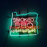 "Wholesale Retro Neon Signs - 17*14"" CUSTOM HANDCRAFTED RETRO SMOKED BBQ REAL GLASS NEON LIGHT BEER BAR PUB SIGN"