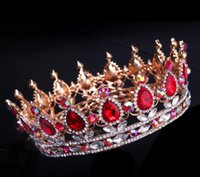 Wholesale wedding hair royal crown online - NEW Royal Luxury Shining rhinestone Baroque Wedding Crowns Bridal Veil Tiara Crown Headband Hair Tiara crowns CM HH07