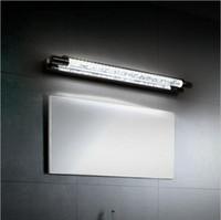 lámparas de pared espejo al por mayor-Modern Crystal LED Bathroom Mirror Light Lámpara montada en la pared frontal 6W Wall Sonces Stainless Steel Bathroom Lights lampara up down crystal wal