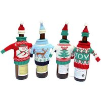 Wholesale Cartoon Hat For Party - Christmas Decoration wine gift bags and Red Wine Bottle Covers Clothes With Hats For Home Dinner Party Or Gift