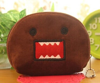 Wholesale Domo Key - Wholesale- KAWAII Cartoon DOMO 11CM Plush Cotton Keychain Coin BAG Purse Wallet Pouch Case ; Girl's KEY BAG Hand BAG Pouch Wallet