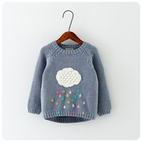 2016 Herbst Winter Neue Winter Cartoon Baby Girls Sweater Cloud Regentropfen Kids Cloed Wolle Baumwolle Strickwaren Infant Sweater Kinderbekleidung