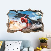 Wholesale spider man wall stickers - New Spider Man Mural Wall Stickers DIY Art Vinyl Decal Kids Boy Room Decoration Christmas Wallpaper free shipping