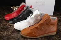 Wholesale White Bootie - Paris designers New Design High Top Shoes Bootie Leather Walk Sport Shoes Men Fashion Lace Up Casual Men Flats MMM new handmade shoes