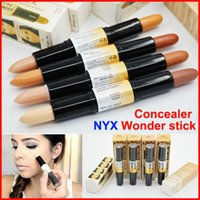 Wholesale eye whitening - NYX Wonder Stick Concealer Eye Face Makeup Cover Cream Foundation highlights and contours shade 4 Colors Double-ended Contour Stick