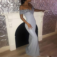 Wholesale free pictures prints - 2017 Sparkling Sequins Prom Dresses Sexy Off-Shoulder Mermaid Floor Length Formal Party Gowns Satin Evening Dresses Free Shipping