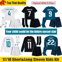 Wholesale Children Long Sleeves - 17 18 Real Madrid Kids Soccer Sets 2017 2018 RONALDO Kids Kit BENZEMA Children Long Sleeve Football Uniform BALE Enfants SERGIO RAMOS Ninos