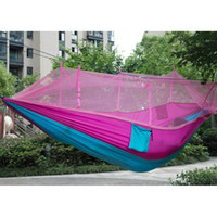 Multi-color Portable Double Hammock Exército Verde High Strength Parachute Nylon Camping Mosquito Garden Swing Com Mosquito Nets Hamaca Chair