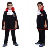 Wholesale Kids Vampire Capes - European Style Halloween Cosplay Clothing Set For Boys Vampire Kids Costumes Three Quarter Sleeves Masqueraders Suits With Cape B-NBCS909-7