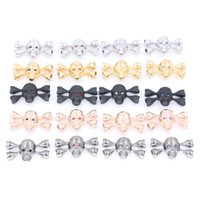 Wholesale Handmade Bracelets Connectors - 10sets lot New Style Skull Skeleton Connectors Charms Fit Sting hd Bracelets jewelry handmade making Findings inner Dia 5mm