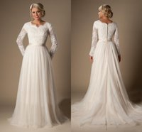 Wholesale Size 16 Informal Wedding Dress - 2016 Informal Long A-Line Lace Tulle Modest Temple Wedding Dresses Long Sleeves V-Neck Sheer Sleeves Trains Buttons Back Bridal Gown