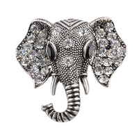Wholesale Vintage Scarf Pin - 2018 Vintage Jewelry Big Elephant Gold Plated Brooch For Women Crystal Rhinestone Animal Badge Broche Suit Scarf Pin Brooches zj-0903639