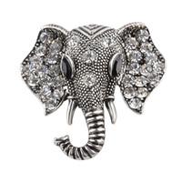 pino de cachecol vintage venda por atacado-2018 Jóias Vintage Big Elephant Banhado A Ouro Broche Para As Mulheres de Cristal Rhinestone Animal Emblema Broche Terno Cachecol Pin Broches zj-0903639