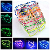 Iluminación LED Gafas El Wire Light Glasses Moda Neon LED Light Up Gafas de sol Glow Rave Costume Party Supplies YW232