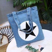 Wholesale Letter Shoulder Bag - New Letter Printed Women Totes Water Wash Denim Shoulder Bag Eco-Friendly Reusable Shopping Bag Handbag