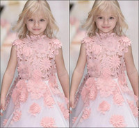 Wholesale Cute Images - Cute Girls Lace Princess Dresses 2017 3D-Floral-Applique Sleeveless Flower Girl Dresses Real Images White Organza Kids Party Dress