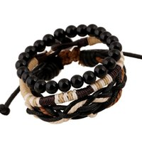 Wholesale Onyx Jewelry Box - Newest Fashion Men Leather Bracelets Leather Rope Weave Bracelet Classic Wax Line Adjustable Hand Bracelet Male Jewelry