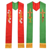 1pc Chiesa Religione Sacerdote Reverso Stole Pesce Cross Calice Ricamo Chiesa Stole per Vestments Red Green