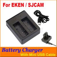 usb doble camara al por mayor-Cargador de batería para EKEN SJCAM Batería de doble ranura Cargador doble Cable mini USB Para SJ4000 SJ5000 M10 SJ6000 cámaras de acción de la serie EKEN