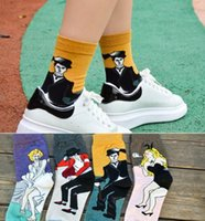 Wholesale Michael Socks - Art Style Socks Women MEN 100% Cotton Vintage Marilyn Monroe Michael Jackson Chaplin Bunny Girl Socking Lovers Middle tube socks