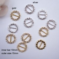 Wholesale Round Bar Sizes - (J0004) 10mm inner bar,outer size:15mm,round rhinestone buckles ,100pcs lot,buckle for card,silver or gold plating