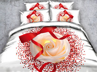 Wholesale Pillow Shams Roses - Fashion Design Ribbon Pink Rose 3D Printed Fabric Cotton Bedding Set Twin Full Queen King Size Dovet Covers Pillow Shams Comforter