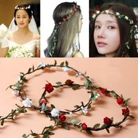 Wholesale Hair Head Wreath Flower Girl - New Fashion Hot Wedding Bridal Girl Head Flower Crown Rattan Garland Hawaii flower head wreath Hair Formal Stunning Green Accessories FG