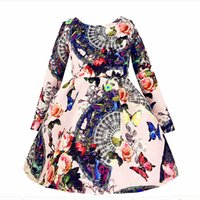 Wholesale Sale Brand Vintage Baby Girl Dress Winter Long Sleeves Thicken Girls Warm Cotton Dresses Flower High Grade Age Zk040916
