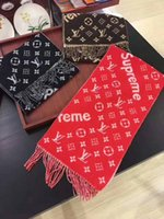 Wholesale Red Christmas Shawl - Factory Price Hot Sell High Quality Famous Brand Letter printing Long Scarf Red Cashmere Wool Scarves Wrap Shawl 180*70CM 3 Colors