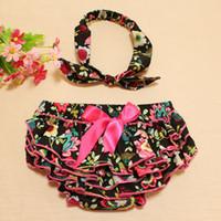 Wholesale Girl S Cloth Set - 0-24M 2016 Girl flower shorts +bowknot headband Infant girl summer cloth set floral bloomers shorts & headband toddler pp pants