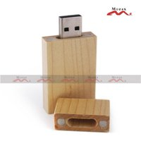 Wholesale Wooden Usb Wholesale - 8GB 50 PCS Maple Wood USB Drive Stick Memory Flash Thum Stick Light Color Wooden Pendrive