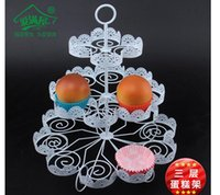 Wholesale Wholesale Cake Tier Stand Holders - 3 Tiers White Lace Iron Cake Stand Can Hold 22 Cakes Cupcake Holder Wedding Decoration Dessert Display Rack