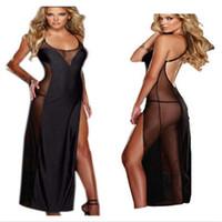 Wholesale long nightwear dress - Plus Size S-6XL Black Long Women Sexy Lingerie Dress Backless Sexy Costumes Nightwear Sleepwear Lingerie Night Gown