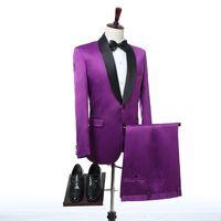 Wholesale Men Wedding Wear Suit - Purple Wedding Tuxedos Groom Wear 2017 Two Piece Black Shawl Lapel Custom Made Groomsmen Men Suits (Jacket + Pants + Tie)