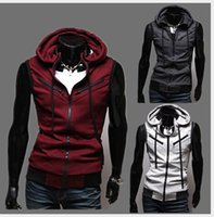Wholesale Cardigans For Men Sale - Sleeveless Hooded Vest Men More Pockets Cardigan Casual Hot Sale Korean Stylish Slim Fit For Men Sport Vest Hoodie Free Shipping
