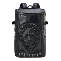 Wholesale 3d Vivid Bag - 2015 3D Lion Studded College Backpack for Men and women Unisex Vivid Animal Print Shoulder Bag PU leather rucksack 1656