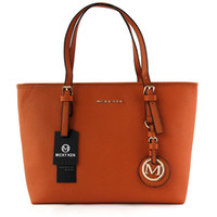 Wholesale ladies orange fashion handbags online - famous brand fashion women bags MICKY KEN lady PU leather handbags famous Designer brand bags purse shoulder tote Bag female