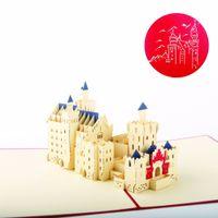 Wholesale Neuschwanstein 3d - Wholesale- (5 pieces lot)Famous Building Model New Swan Stone Castle Handmade Kirigami 3D Pop up Cards Schloss Neuschwanstein Greeting Card