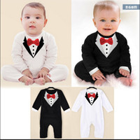Wholesale Long Sleeve Baby Romper Tuxedo - 3pcs lot!newborn Boy Baby Formal Suit Tuxedo Romper Pants Jumpsuit Gentleman Clothes for infant baby romper jumpsuits