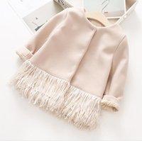 Wholesale Girl Baby Coat Beige - Girls Tassel Outwears Kids Girls fashion Woolen Coats Baby Girls Autumn Winter warm Jackets 2017 Kids Clothing