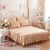 Wholesale Luxury Velvet Bedding - Wholesale- SunnyRain 3-Pieces Rose Shaped Embossing Velvet Bed Sheet Set Luxury Bedding Set Queen Size Bed Set Keep Warm In Winter sabanas