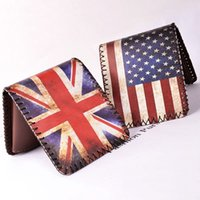 Wholesale English Leather Wholesale - Wholesale- Women Men Wallets Short Purses Cards ID Holder English American Flag Pattern Wallet Burse Clutch Purse Bags Carteira Feminina