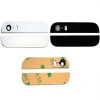 kameraobjektiv reparaturteile großhandel-Für iPhone 5S 5G Ersatz Reparatur Gehäuse Teile zurück oben und unten Glasabdeckung mit Rückfahrkamera Objektiv Blitz Diffusor