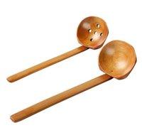 japanisches geschirr großhandel-Holzgeschirr Turtle Suppenlöffel Japanisches Ramen Holz Langstiel-Sieb Heißer Topflöffel praktisch und langlebig