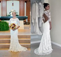 Wholesale Open Back Wedding Dresses Prices - Gorgeous 2016 Lace Wedding Dresses Jewel Neck Half Sleeve Sexy Open Back Long Floor Length Mermaid Wedding Dress Cheap Price High Quality