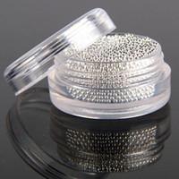 robes en paillettes achat en gros de-Grossiste - Mini perles métalliques de clou de caviar métalliques d'argent pour des conseils d'art de clou 3D Outils de décoration de manucure