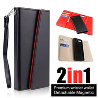 Wholesale Iphone Pu Leather Case - Premium luxury phone case For iphone X 8 7 6 6s plus Detachable Magnetic Snap-on PU Leather Wallet Cases Card Slot Flip Case Cover