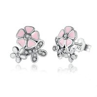 925 Sterling Silver Poetic Daisy Cherry Blossom Stud Earrings Mulheres Clear CZ Diamond Pink Flower Compatível com Brincos Jóias