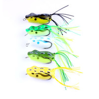Wholesale fishing lures types - 5PCS Water Type Snakehead Frog Lures Combo 5.5CM Lifelike Frog Fish Fishing Baits or 19.6g Soft Bait with Double Barbed Hooks